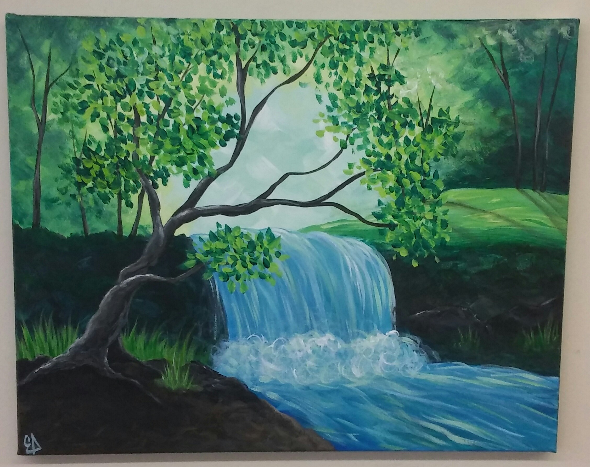 'Waterfall' Canvas Painting Class @ Creative Canvas and Board