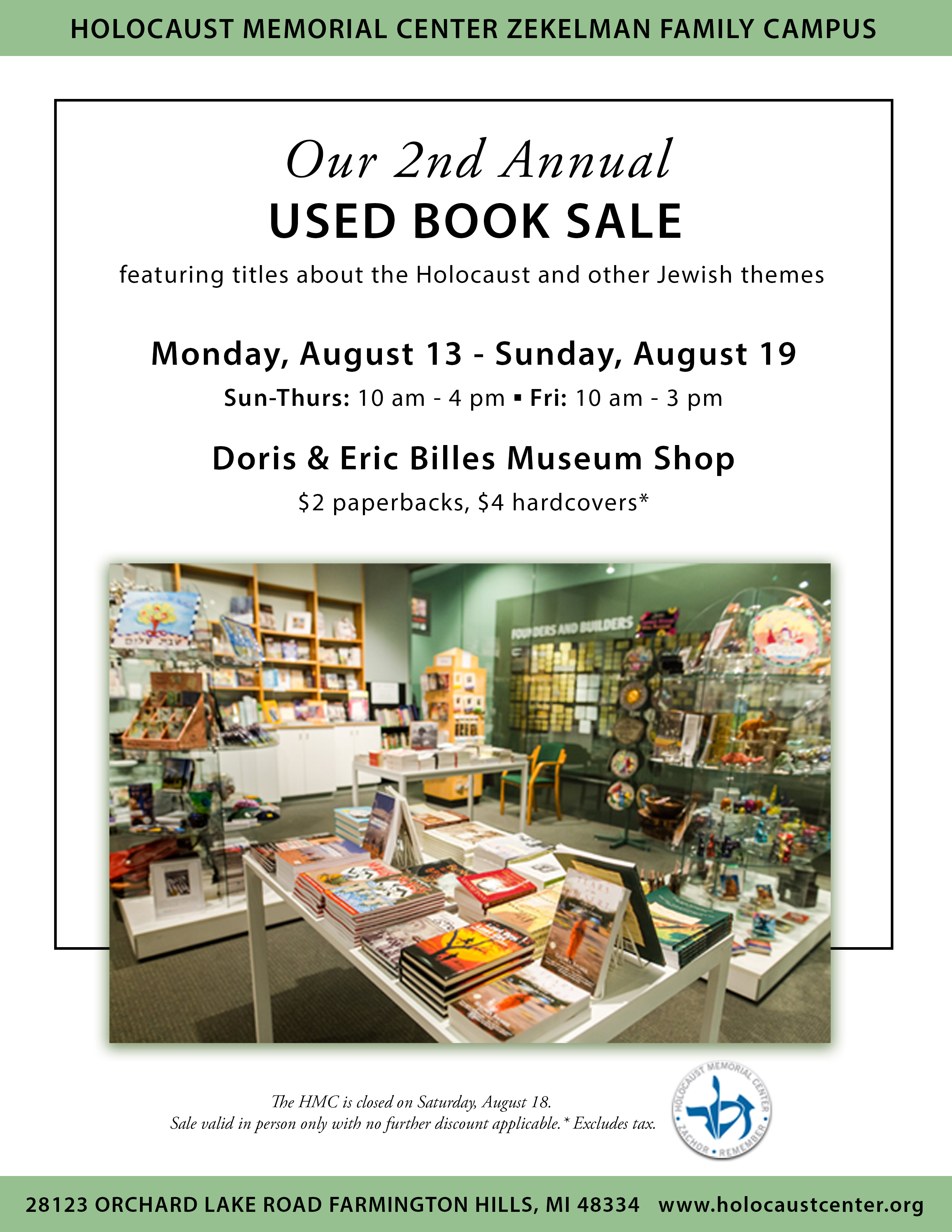 2nd Annual Used Book Sale Holocaust Memorial Center