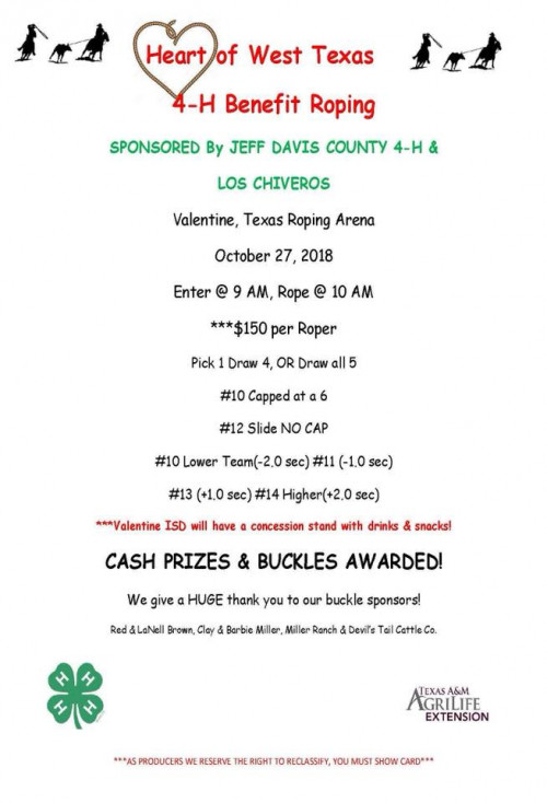 Heart of West Texas 4-H Benefit Roping
