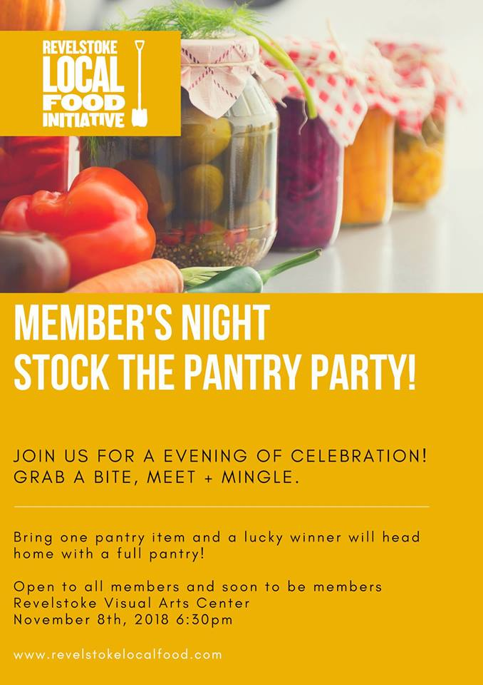 Member's Night! Stock the Pantry Party @ Revelstoke Visual Arts Centre |  |  |