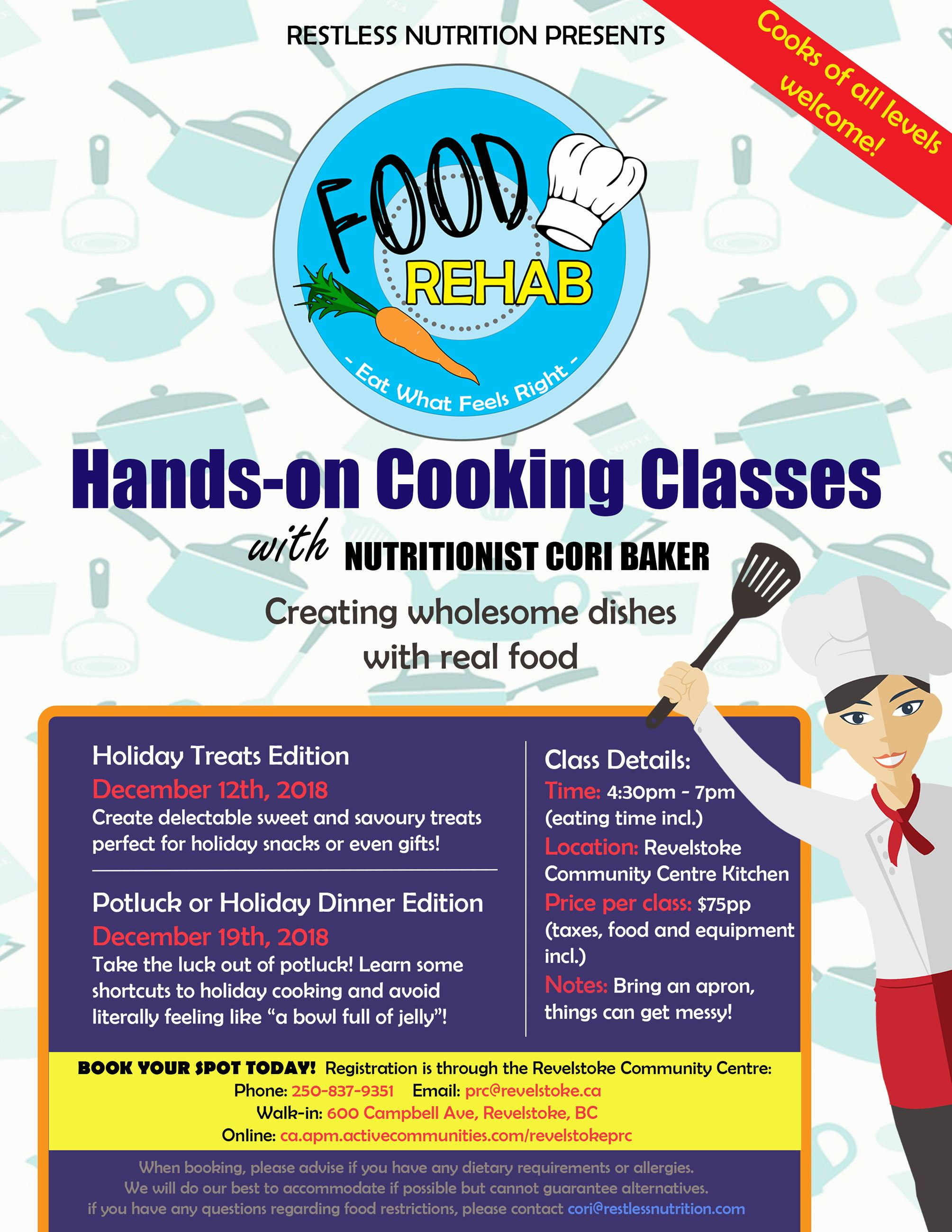 Hands-on Cooking Classes - Potluck or Holiday Dinner Edition @ Revelstoke Community Centre |  |  |