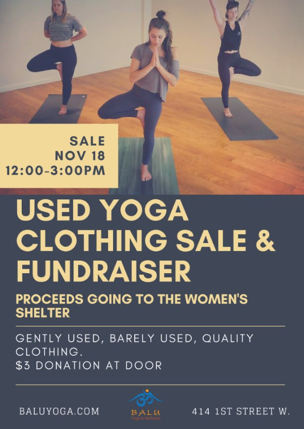Used Yoga Clothing Sale & Fundraiser @ Balu Yoga & Wellness |  |  |