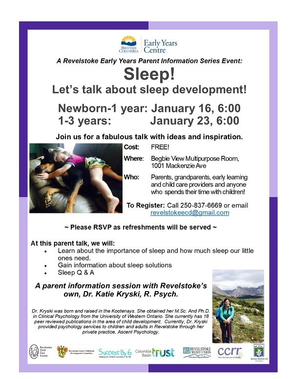 Revelstoke Early Years Parent Information Series: Sleep @ Begbie View Elementary School |  |  |