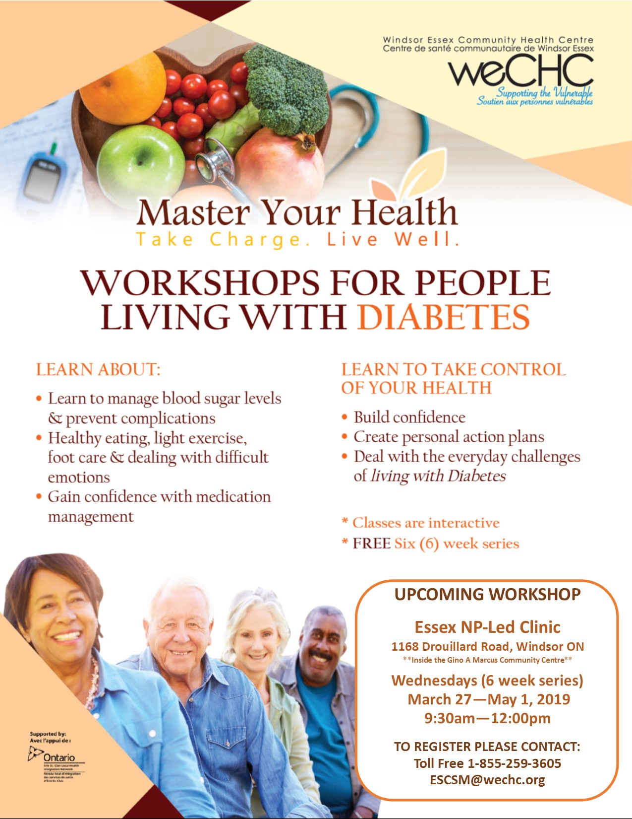 MASTER YOUR HEALTH – Diabetes Education Series @ Essex County NP-Led Clinic (Windsor)
