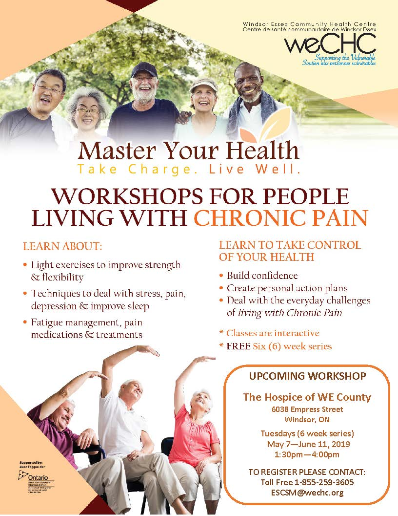 MASTER YOUR HEALTH – Chronic Pain Education Series @ Hospice of Windsor Essex County