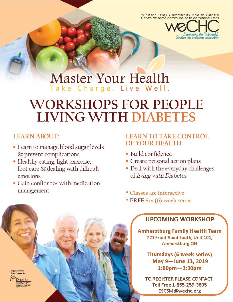 MASTER YOUR HEALTH – Diabetes Education Series @ Amherstburg Family Health Team