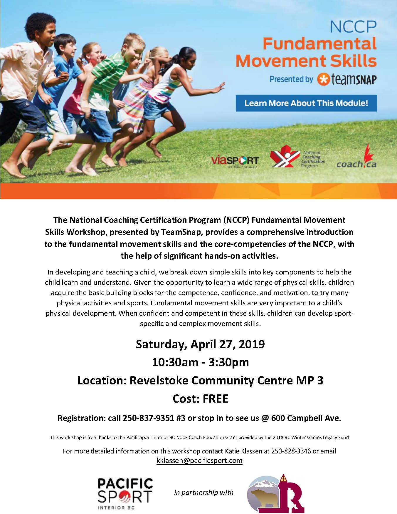 FREE Fundamental Movement Skills Workshop @ Community Centre |  |  |