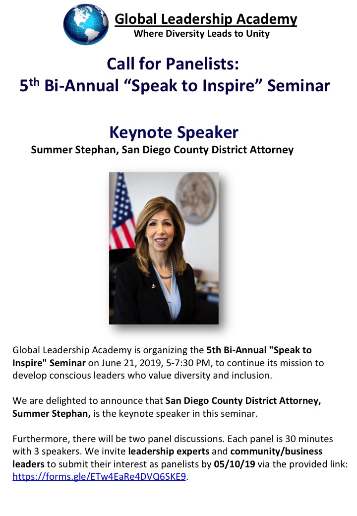 Call for Panelists: 5th Bi-Annual 'Speak to Inspire' Seminar