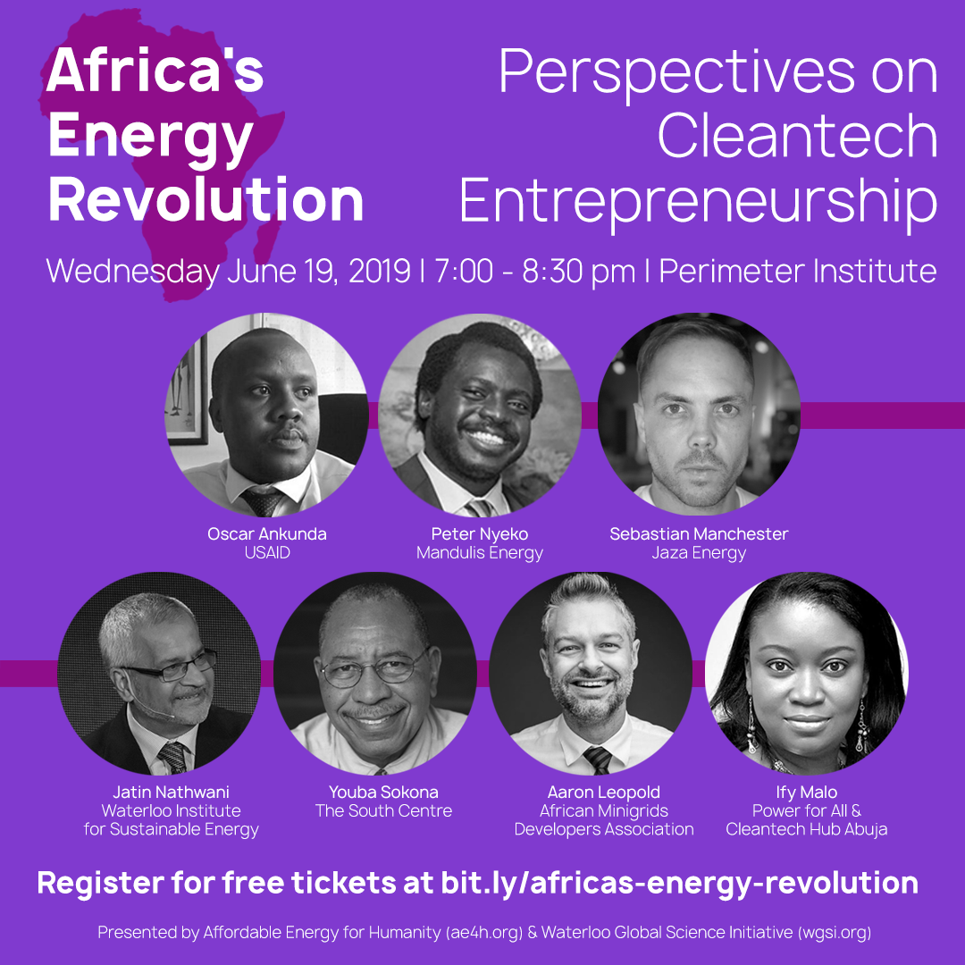 Africa's Energy Revolution: Perspectives on Cleantech Entrepreneurship @ Perimeter Institute |  |  |