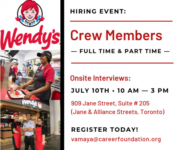Hiring Event: Wendy's (Crew Members)
