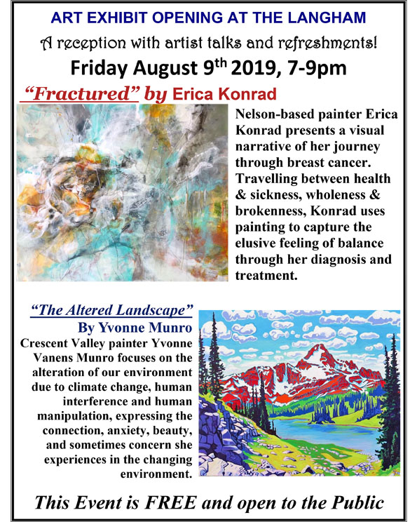 Art Galleries Exhibit Opening Reception - FRACTURED by Erica Konrad and THE ALTERED LANDSCAPE by Yvonne Munro @ Langham Cultural Centre