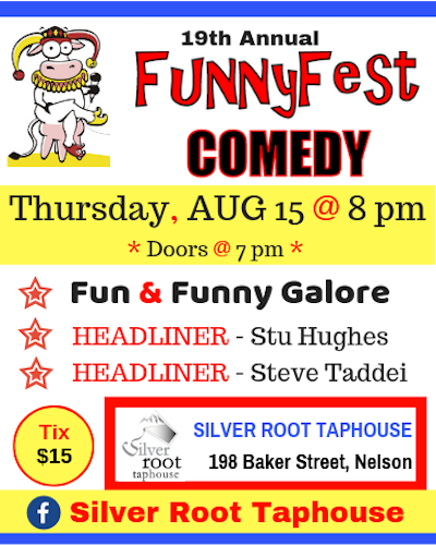19th Annual FUNNYFEST Comedy on Tour Thursday, August 15 @ 8 PM @ Silver Root Taphouse
