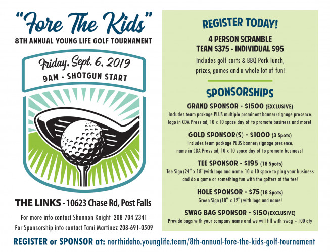 FORE the KIDS - North Idaho Young Life Golf Scramble