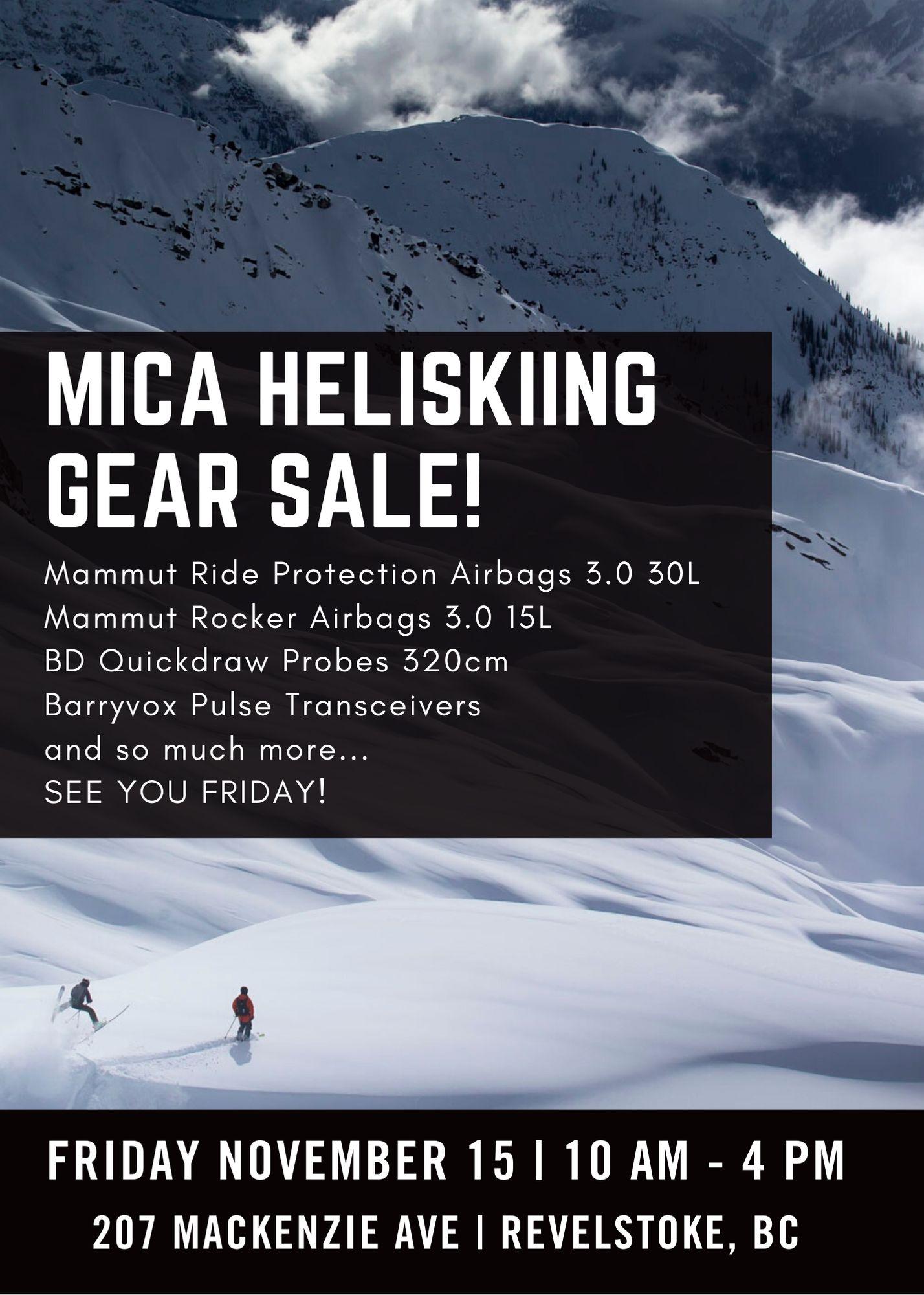 Mica Heliskiing Gear Sale @ Mica Heliskiing