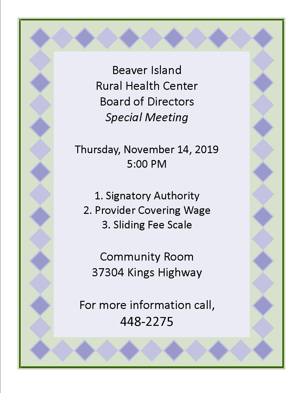 BIRHC Special Board Meeting @ Beaver Island Rural Health Center