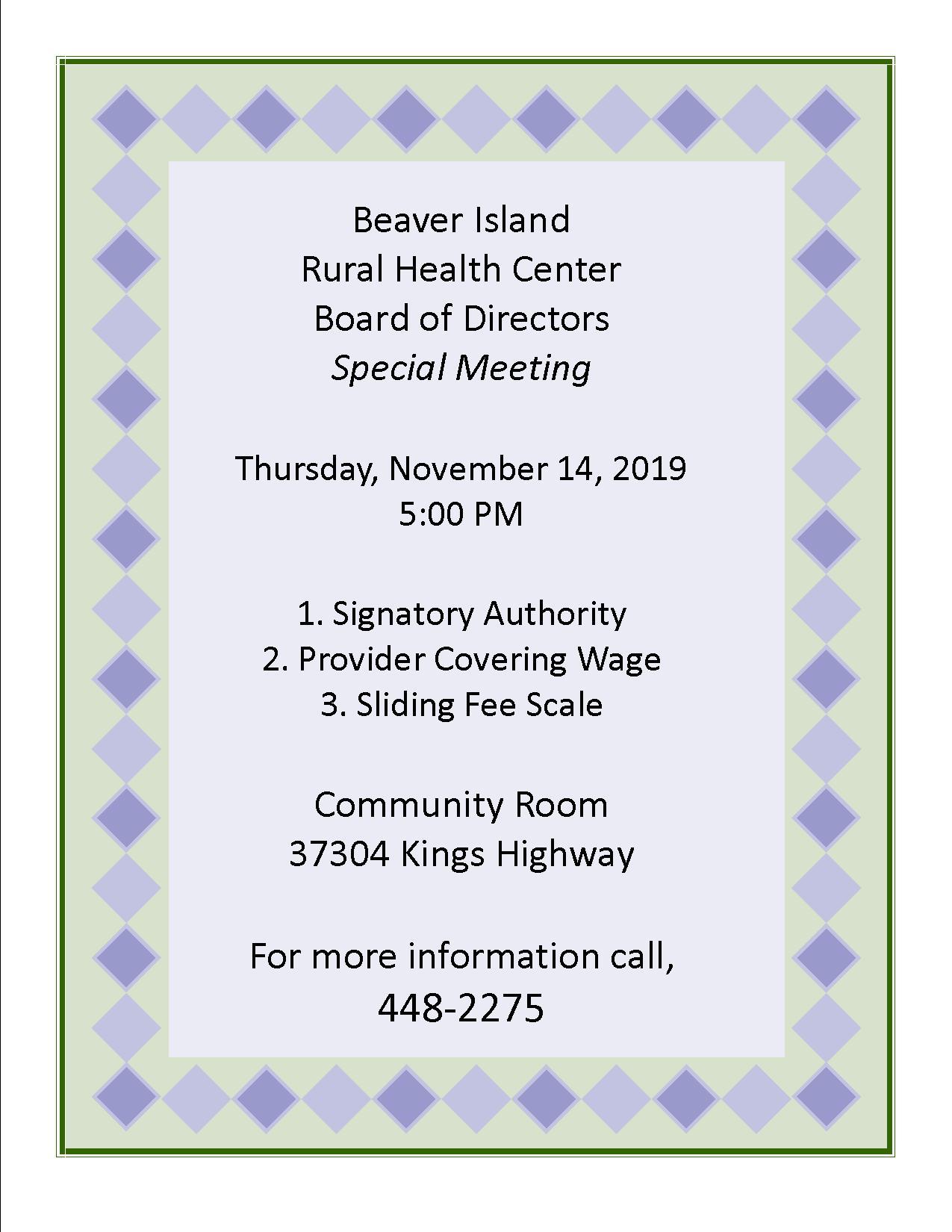 BIRHC Special Board Meeting @ Beaver Island Rural Health Center