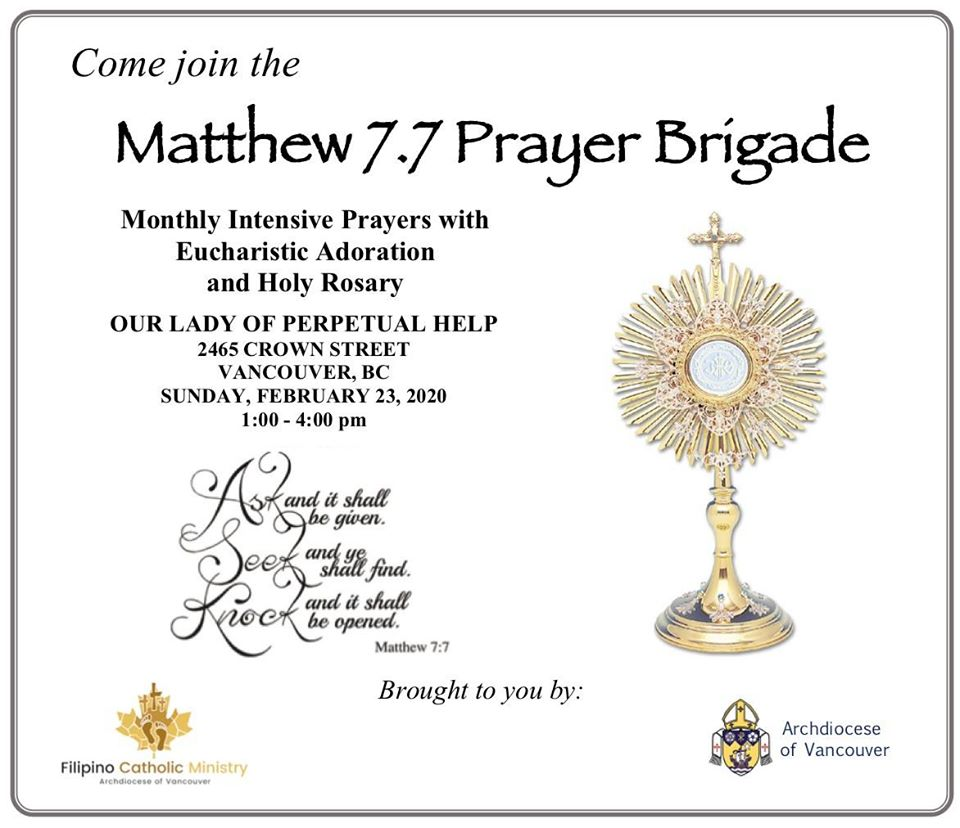 Monthly Eucharistic Adoration - Intensive Prayer @ Our Lady of Perpetual Help