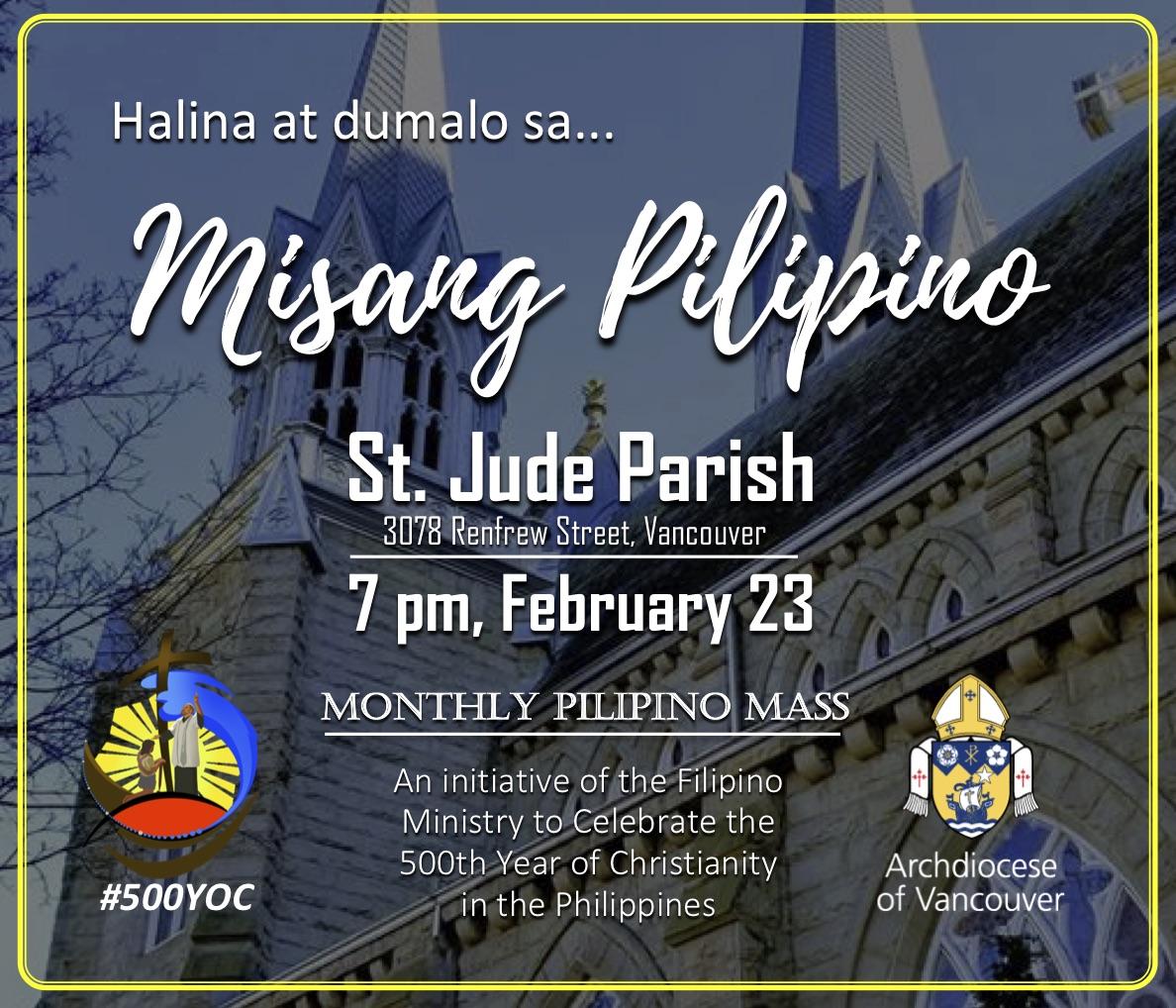 Monthly Pilipino Mass @ St. Jude Parish