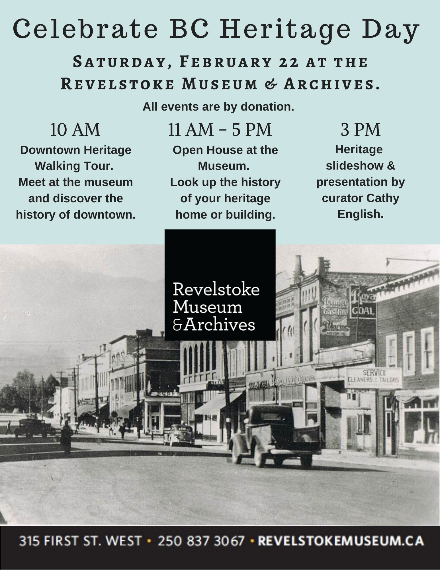 Heritage Day at Revelstoke Museum & Archives @ Revelstoke Museum & Archives