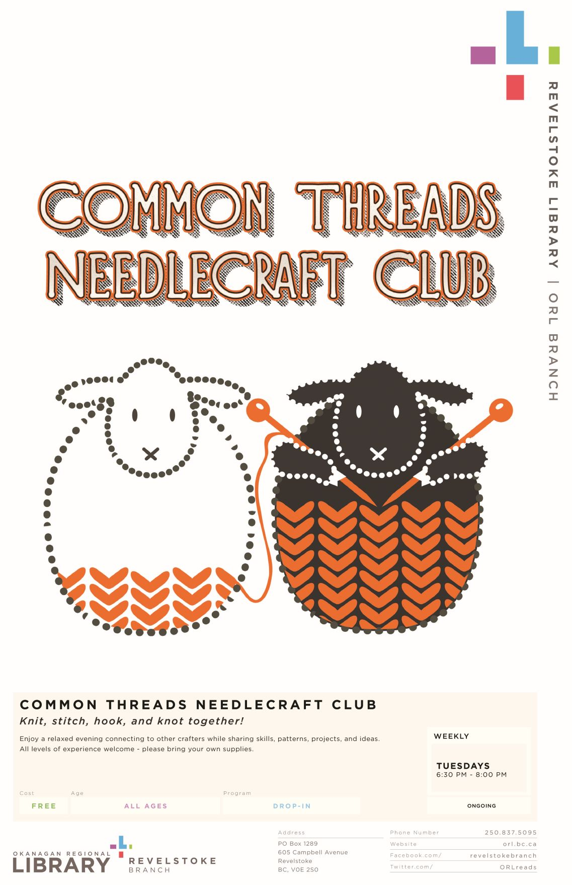 CANCELED - Common Threads Needlecraft Club @ Okanagan Regional Library Revelstoke Branch