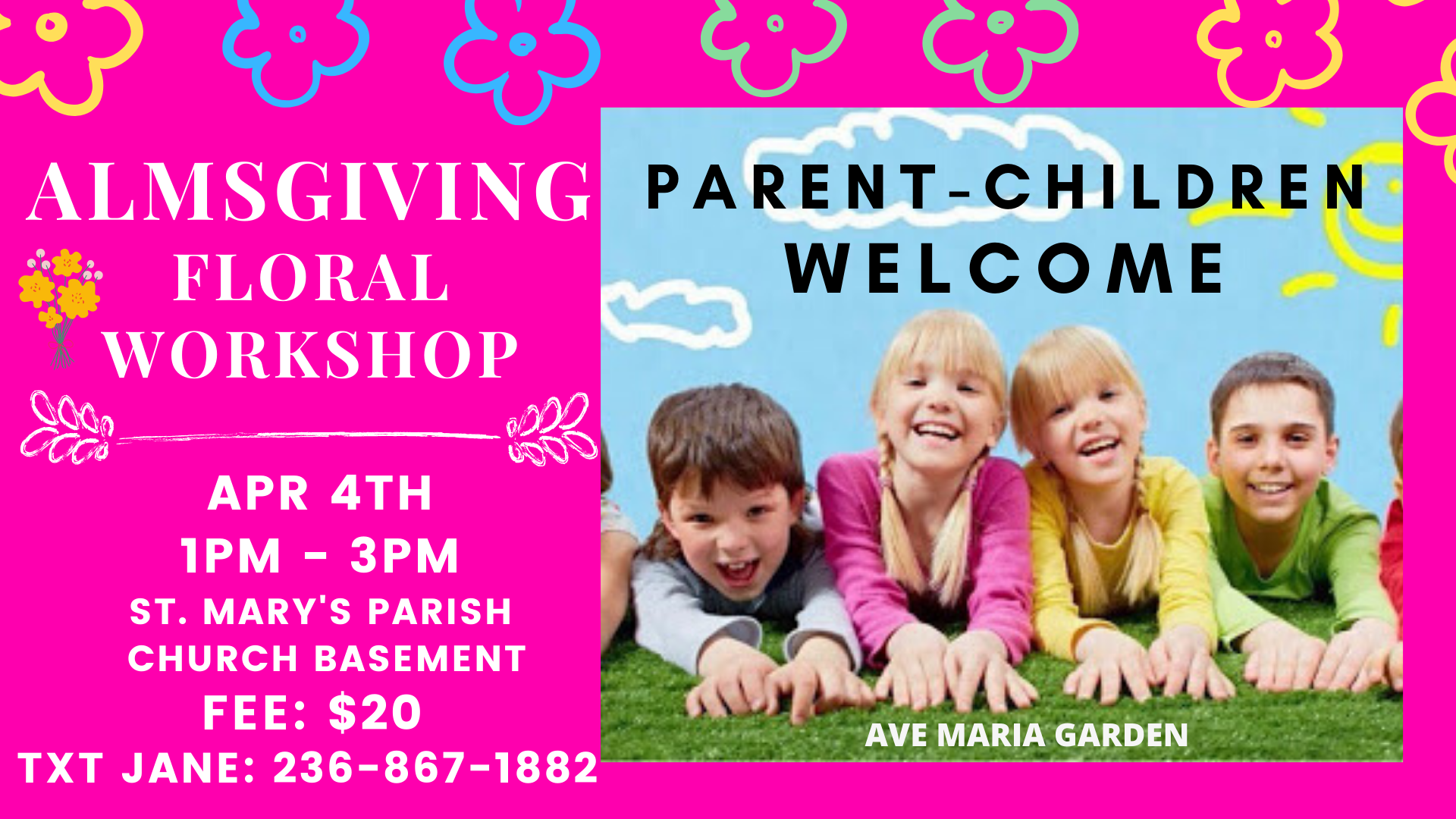 Parent-Child Floral Almsgiving Workshop @ St. Mary's Parish - Ave Maria Garden