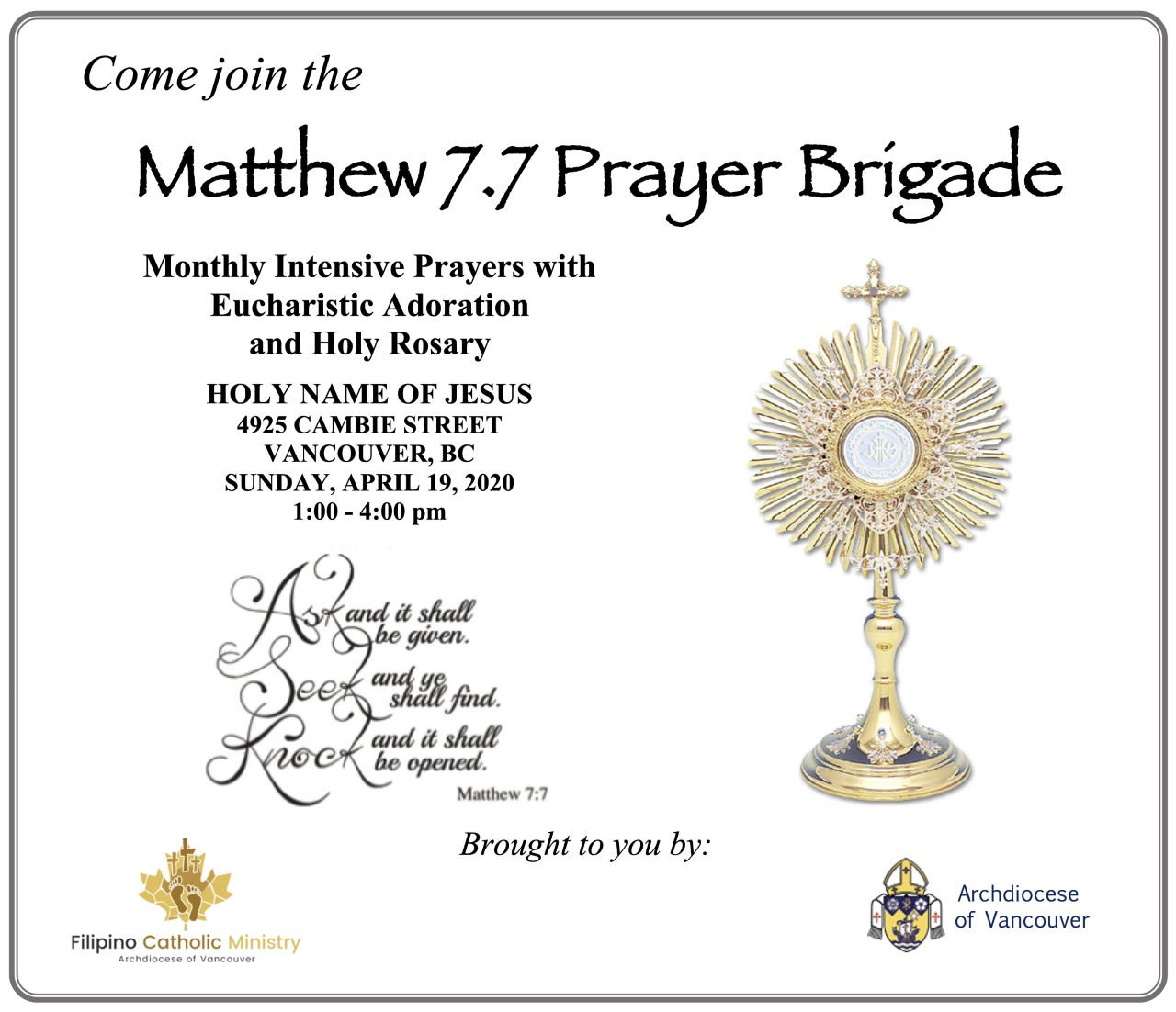 Monthly Eucharistic Adoration - Intensive Prayer @ Holy Name of Jesus