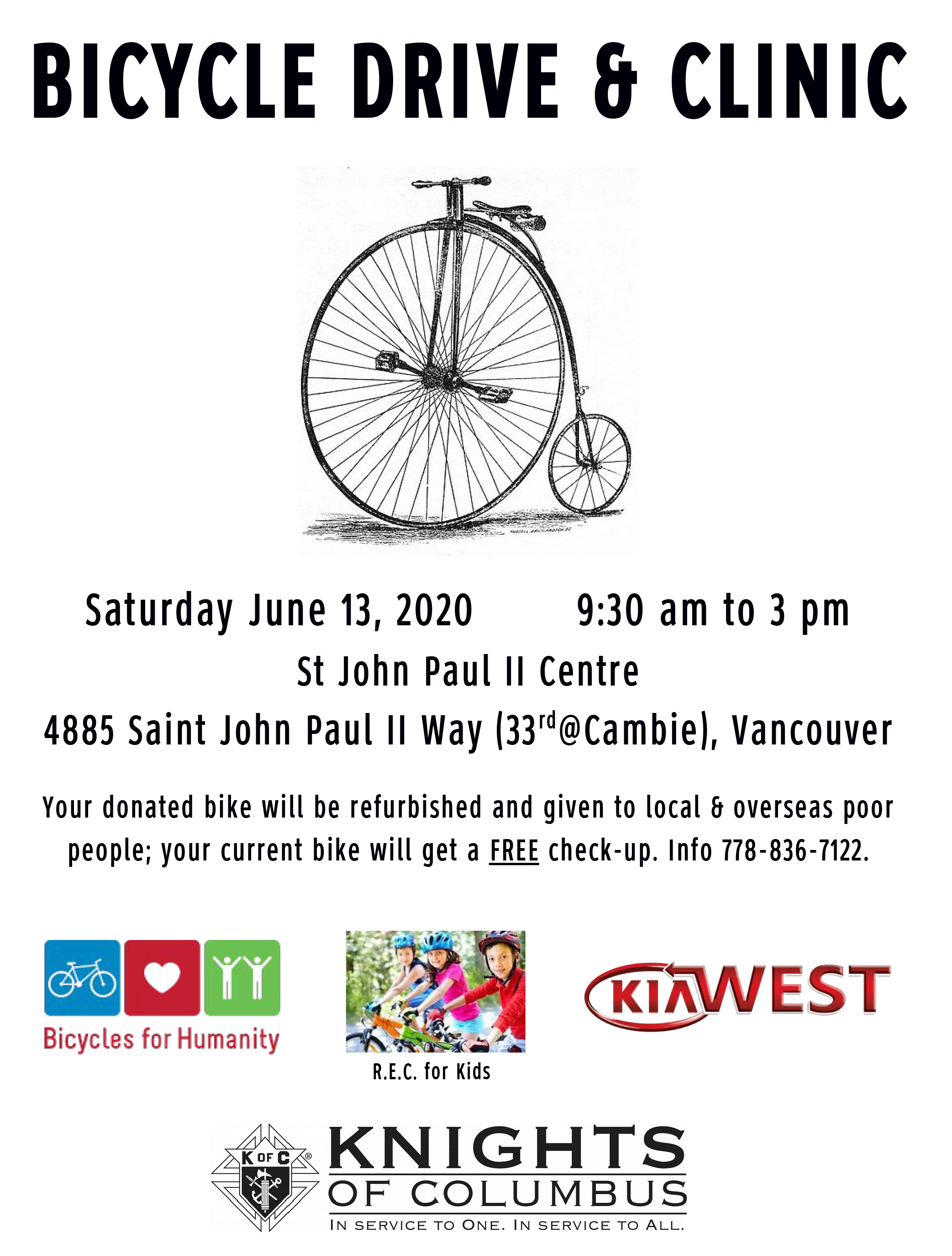 KofC Bike Drive & Clinic @ John Paul II Pastoral Centre