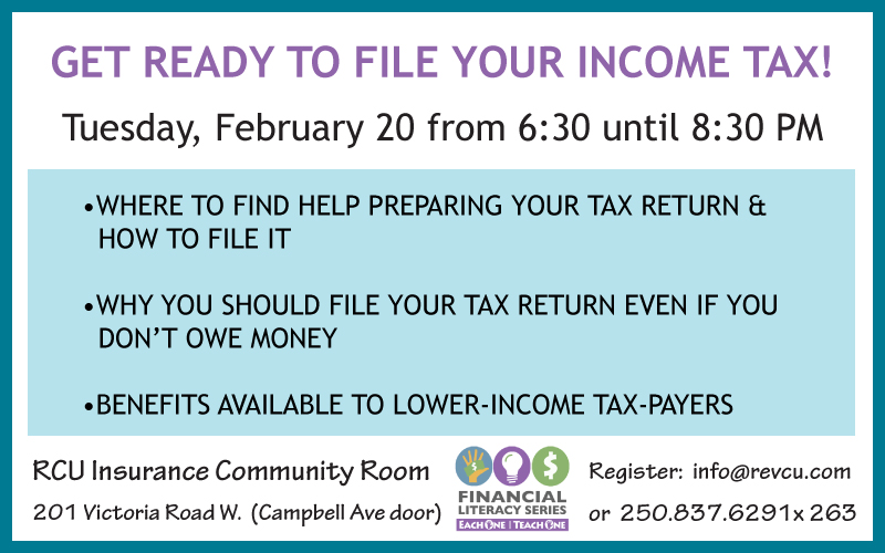 Getting Ready to File Your Income Tax @ RCU Community Room |  |  |
