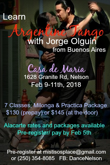 Beginner/ Intermediate Argentine Tango Workshops by Jorge Olguin @ Casa de Maria