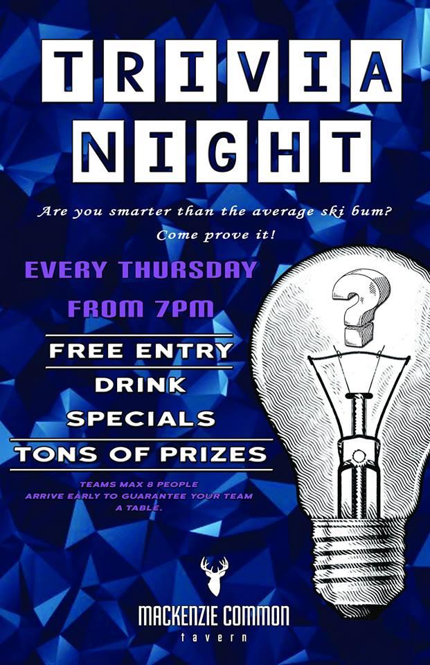 Trivia Night @ Mackenzie Common Tavern |  |  |