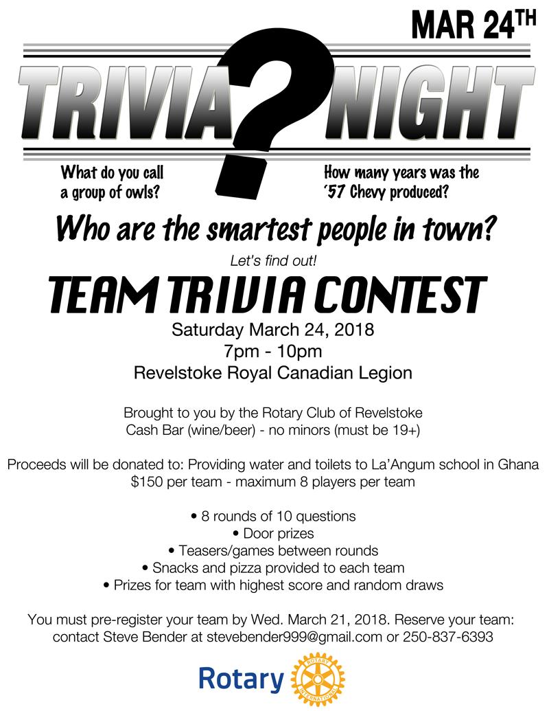 Trivia Night @ Revelstoke Royal Canadian Legion |  |  |