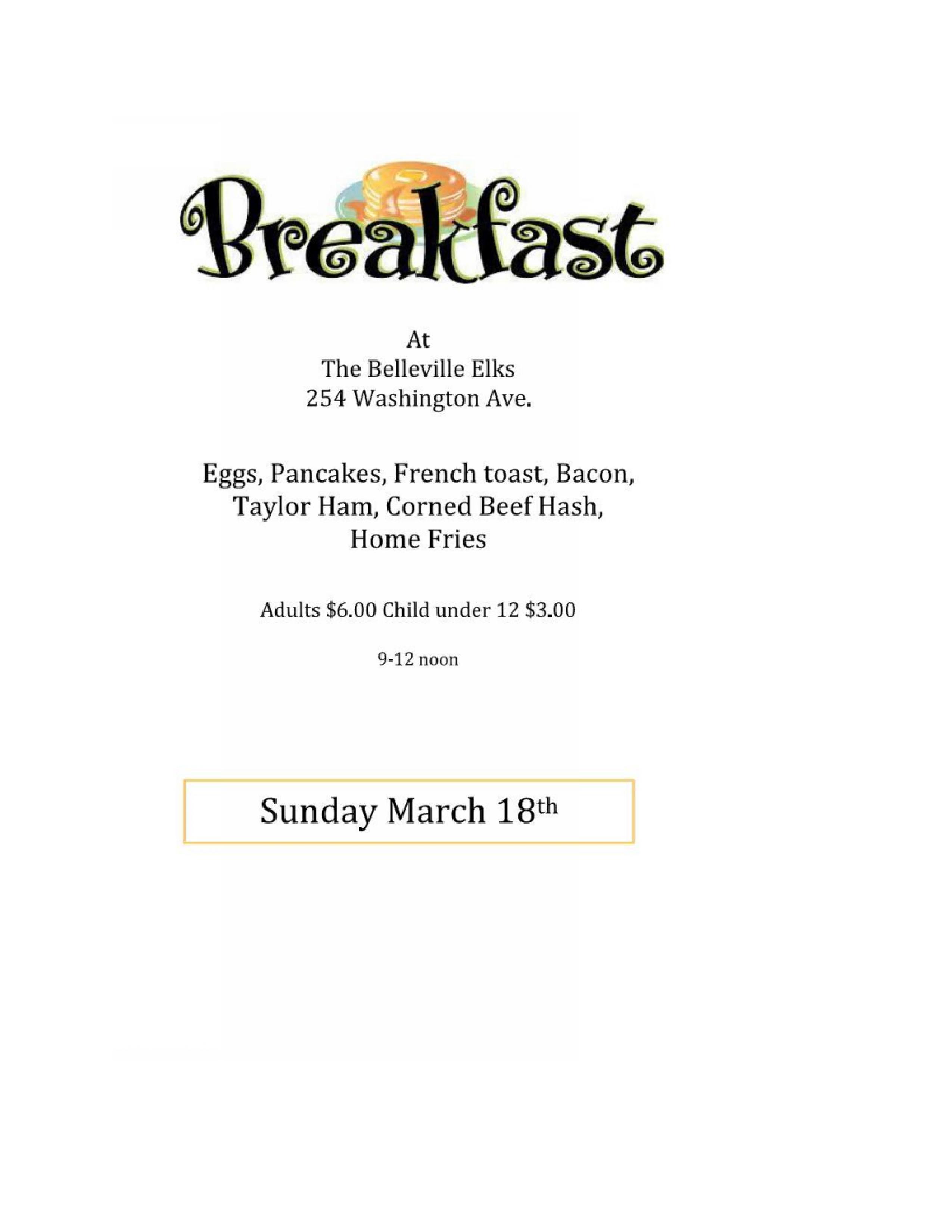 Belleville Elks Breakfast