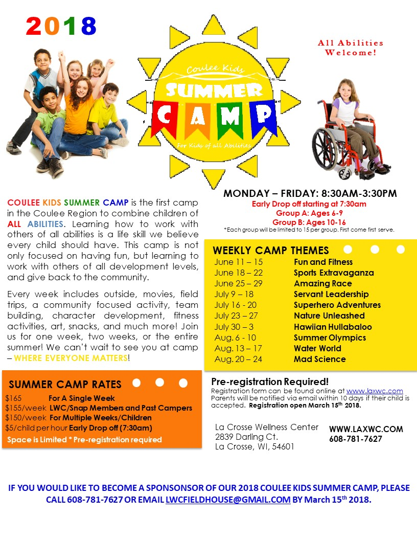 Coulee Kids Summer Camp @ La Crosse Wellness Center