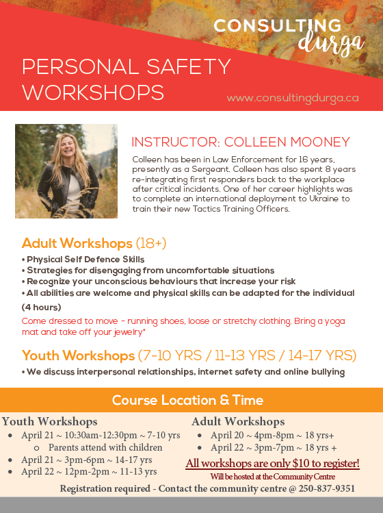 Personal Safety Workshop for Adults @ Revelstoke Community Centre