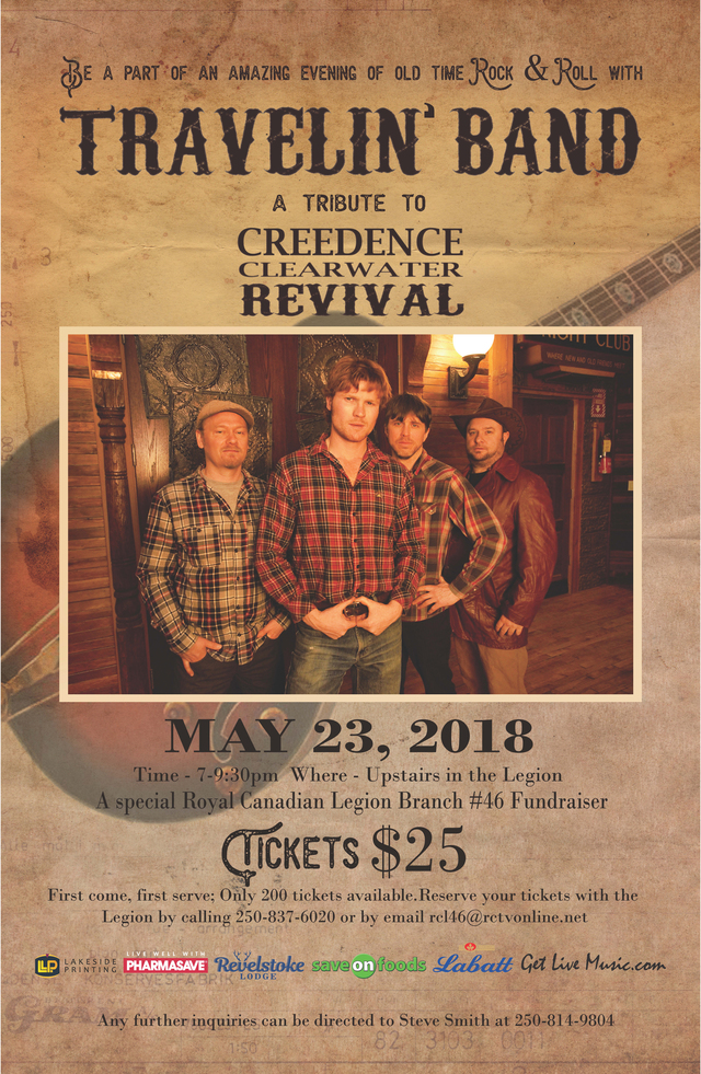 Legion Fundraiser - CCR Tribute Band @ Revelstoke Legion |  |  |