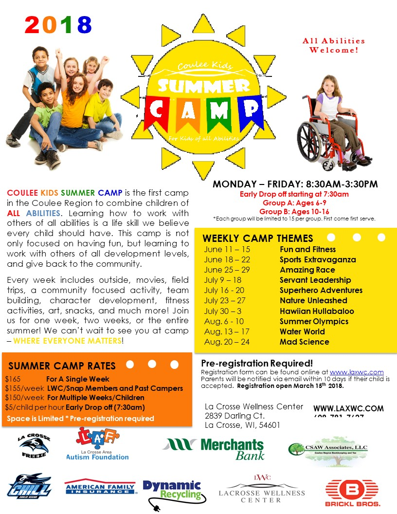 Coulee Kids All-Abilities Summer Camp @ La Crosse Wellness Center